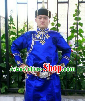 Traditional Mongolian Daily Clothes and Hat Complete Set for Men