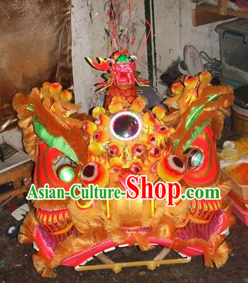 Ancient Style Fut San Dragon Head Lion Dance Costumes Complete Set