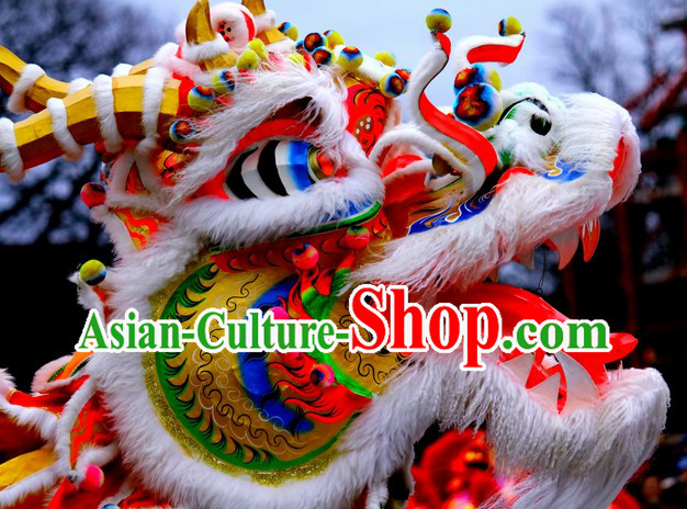 Chinese Lunar New Year Natural Wool Dragon Dance Costume Complete Set