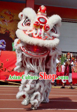 White Fur Opening and Celebration Adult Size Lion Dance Costumes Complete Set