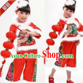 Traditional Chinese Red Lantern Dance Costumes for Girls