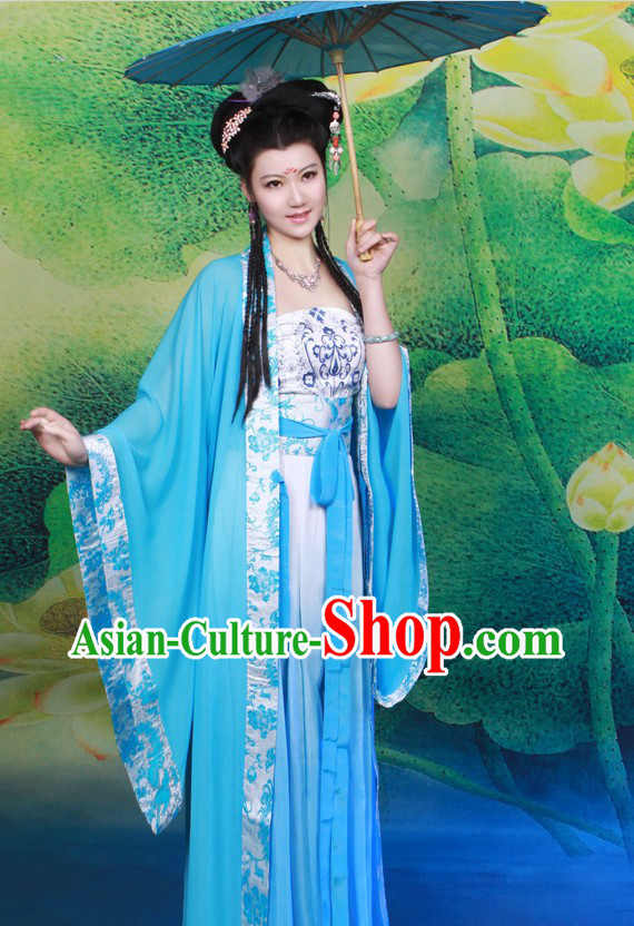 Ancient Chinese Tang Dynasty Blue Clothes for Women