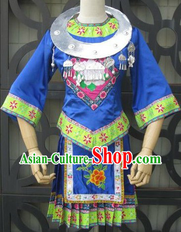 Chinese Miao Ethnic Embroidered Dance Costume and Necklace for Women