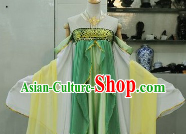 Ancient Chinese Style Green Tang Dynasty Palace Lady Skirt Costume