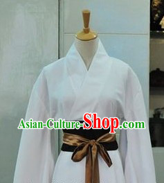 Ancient Chinese White Long Robe for Men