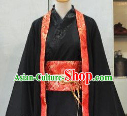 Ancient Chinese Black Han Fu Clothes for Men