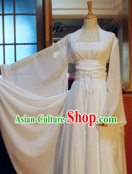 Ancient Chinese White Fairy Lady Costumes