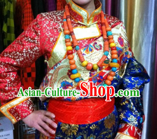Traditional Chinese Red Tibetan Robe Complete Set for Ladies