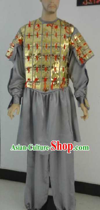 Qin Dynasty Chinese Bing Ma Yong Terra Cotta Warrior Costume for Men