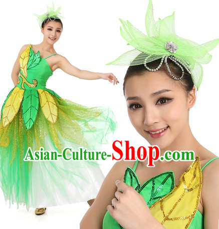 Chinese Green Leaf Dance Costume and Headpiece for Women