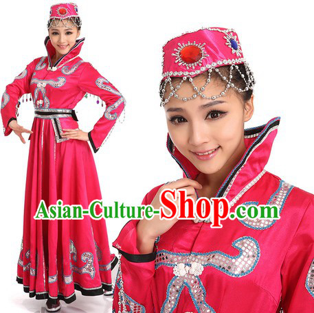 Pink Mongolian Dancing Costumes and Hat for Women