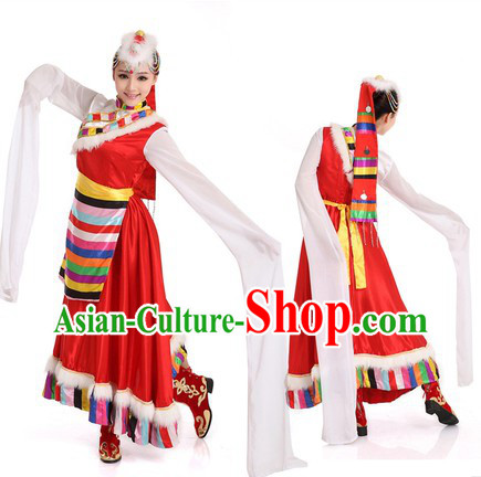 Tibetan Dancing Costumes and Headpiece for Women