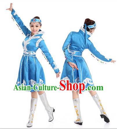 Blue Mongolian Dance Costume and Headpiece for Women