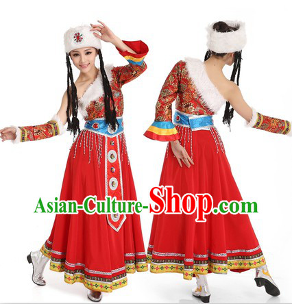 Tibetan Dancing Costume and Hat for Women