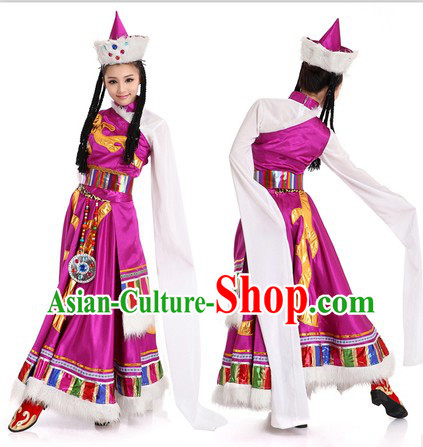 Purple Chinese Tibetan Minority Costume and Hat for Women