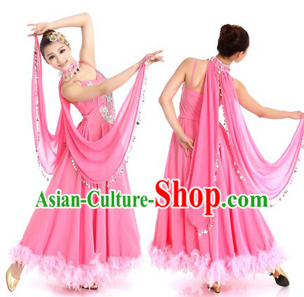 Pink Chinese Waltz Costume and Hair Accessories for Women