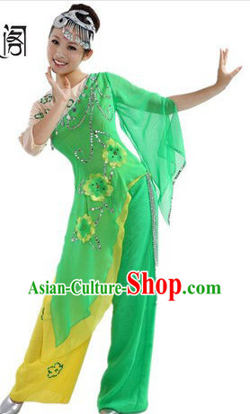 Chinese Green Leaf Costumes and Headpiece for Ladies
