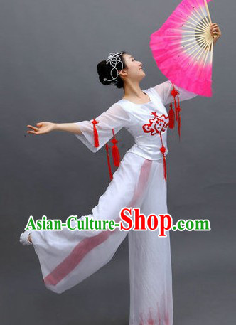 Chinese White Fan Dance Costumes and Headpiece for Ladies