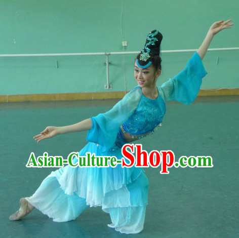 Chinese Classic Blue Dance Costumes and Headpiece for Women