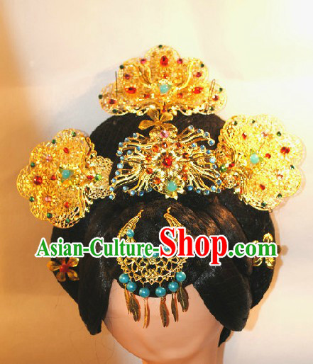 Tang Dynasty Chinese Imperial Empress Wig and Hair Accessories Set
