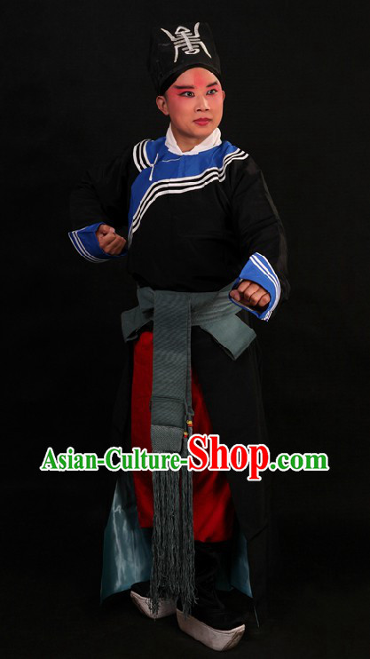 Black Ancient Chinese Policeman Costumes and Hat for Men