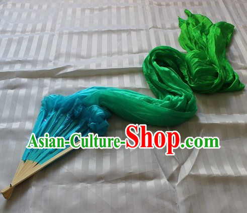 Handmade Blue to Green Colour Transition Long Silk Dance Fan