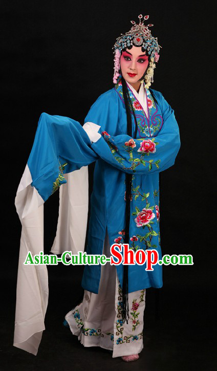 Blue Peking Opera Hua Dan Long Sleeve Robe and Skirt for Women