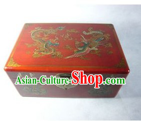 Chinese Classic Palace Dragon and Phoenix Mahjong Case
