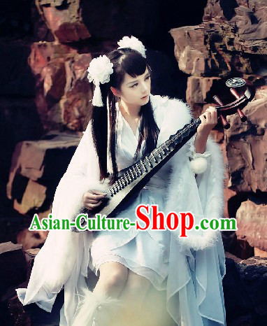 Ancient Chinese Style White Fantasy Fairy Cosplay Costumes