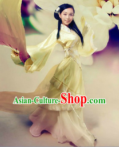 Chinese Classic Light Yellow Hanfu Clothes for Women