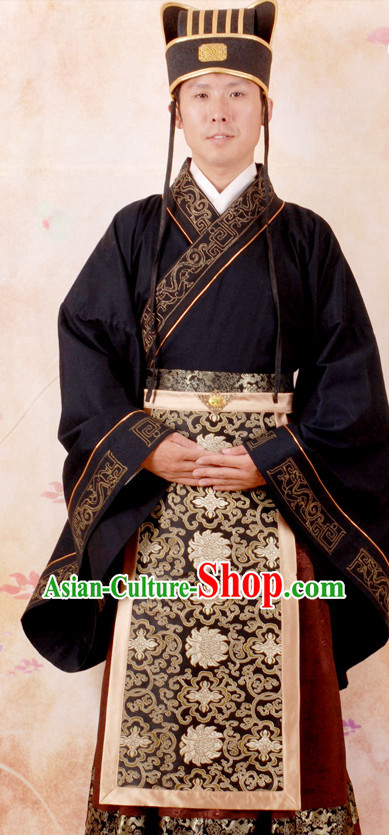 Ancient Chinese Han Dynasty Official Costumes and Hat for Men