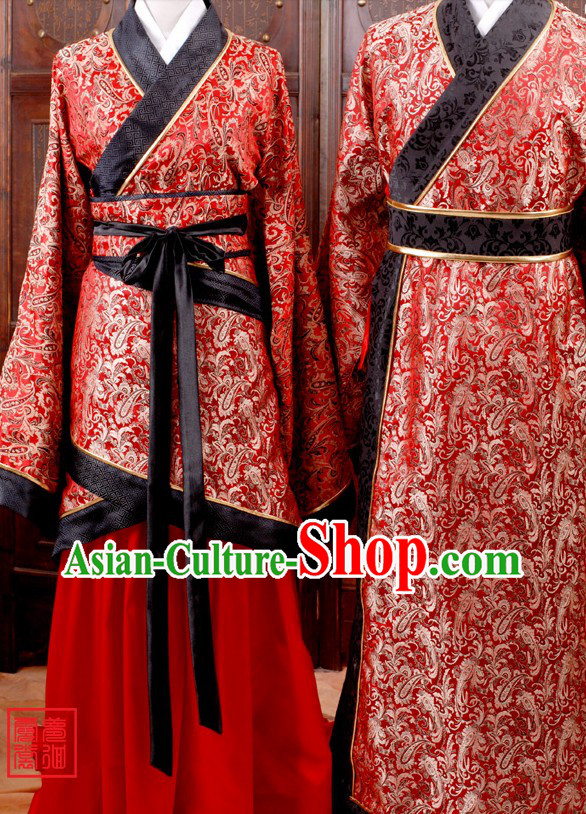 Ancient Chinese Red Wedding Dress Two Sets for Men and Women