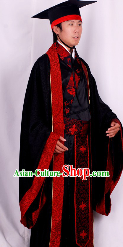 Ancient Chinese Han Dynasty Ceremonial Clothing and Hat for Men