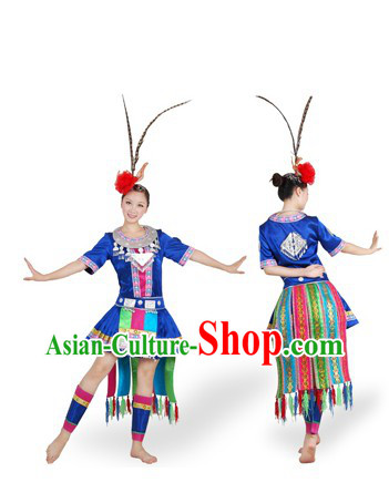 Chinese Miao Ethnic Dance Costumes and Headpiece for Women