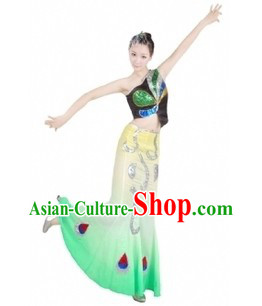 Traditional Chinese Dai Minority Peacock Dance Costumes for Women