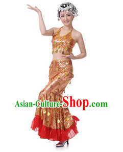 Traditional Chinese Dai Minority Dance Costumes for Women