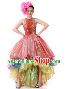 Traditional Chinese Opening Dance Costumes and Headpiece for Women