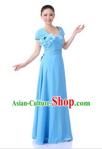 Traditional Chinese Blue Chorus Dresses for Women
