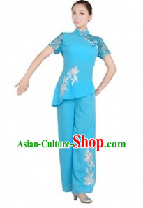 Chinese Blue Fan Dance Costume for Women
