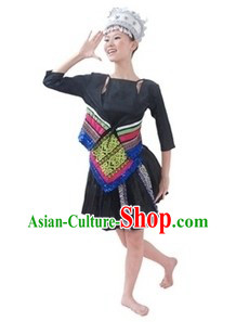 Traditional Chinese Miao Clothes and Hat for Women