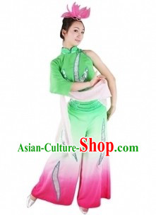 Traditional Chinese Lotus Dance Clothing and Hat for Women