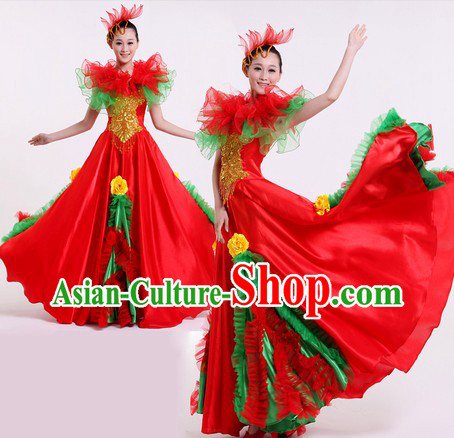 Chinese Modern Dance Costumes and Headpiece for Women