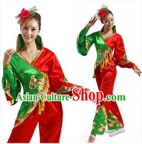 Traditional Chinese Fan Dancing Costume and Headpiece for Women