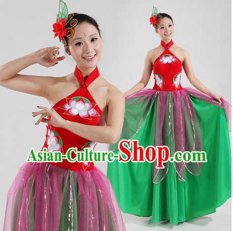 Traditional Chinese Lotus Classical Dancing Costumes and Headpiece for Women