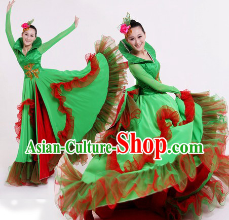 Traditional Chinese Green Nature Dance Costumes and Headpiece for Women