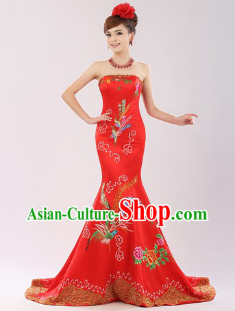 Traditional Chinese Phoenix Wedding Dress for Brides