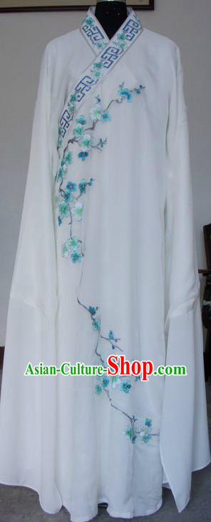Ancient Chinese White Long Sleeve Robe for Men