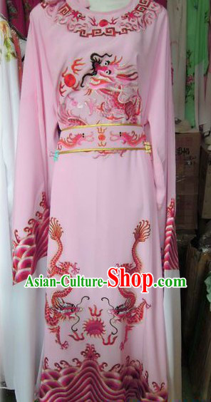 Ancient Chinese Pink Embroidered Dragon Young Men Long Robe