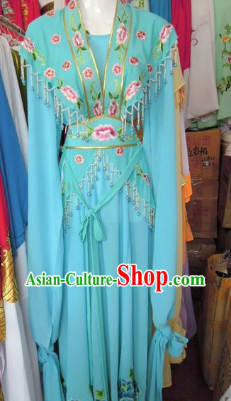 Ancient Chinese Opera Blue Young Lady Costumes