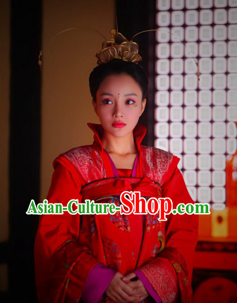 Ancient Chinese Tang Dynasty Princess Wedding Dress and Headdress Complete Set